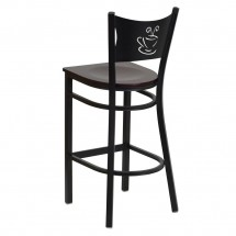Flash Furniture XU-DG-60114-COF-BAR-MAHW-GG HERCULES Series Black Coffee Back Metal Restaurant Bar Stool - Mahogany Wood Seat addl-1