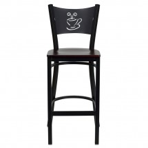 Flash Furniture XU-DG-60114-COF-BAR-MAHW-GG HERCULES Series Black Coffee Back Metal Restaurant Bar Stool - Mahogany Wood Seat addl-2