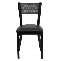 Flash Furniture XU-DG-60115-GRD-BLKV-GG HERCULES Series Black Grid Back Metal Restaurant Chair - Black Vinyl Seat addl-2