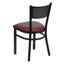 Flash Furniture XU-DG-60115-GRD-BURV-GG HERCULES Series Black Grid Back Metal Restaurant Chair - Burgundy Vinyl Seat addl-1