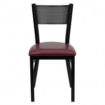 Flash Furniture XU-DG-60115-GRD-BURV-GG HERCULES Series Black Grid Back Metal Restaurant Chair - Burgundy Vinyl Seat addl-2