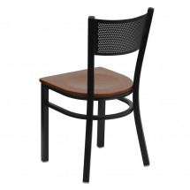 Flash Furniture XU-DG-60115-GRD-CHYW-GG HERCULES Series Black Grid Back Metal Restaurant Chair - Cherry Wood Seat addl-1