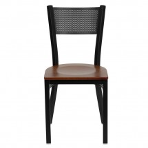 Flash Furniture XU-DG-60115-GRD-CHYW-GG HERCULES Series Black Grid Back Metal Restaurant Chair - Cherry Wood Seat addl-2