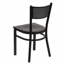 Flash Furniture XU-DG-60115-GRD-MAHW-GG HERCULES Series Black Grid Back Metal Restaurant Chair - Mahogany Wood Seat addl-1