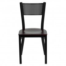 Flash Furniture XU-DG-60115-GRD-MAHW-GG HERCULES Series Black Grid Back Metal Restaurant Chair - Mahogany Wood Seat addl-2
