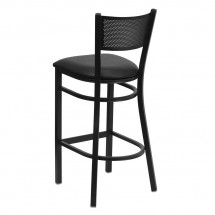 Flash Furniture XU-DG-60116-GRD-BAR-BLKV-GG HERCULES Series Black Grid Back Metal Restaurant Bar Stool - Black Vinyl Seat addl-1