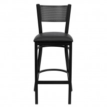 Flash Furniture XU-DG-60116-GRD-BAR-BLKV-GG HERCULES Series Black Grid Back Metal Restaurant Bar Stool - Black Vinyl Seat addl-2