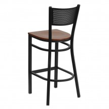 Flash Furniture XU-DG-60116-GRD-BAR-CHYW-GG HERCULES Series Black Grid Back Metal Restaurant Bar Stool - Cherry Wood Seat addl-1