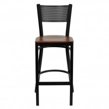 Flash Furniture XU-DG-60116-GRD-BAR-CHYW-GG HERCULES Series Black Grid Back Metal Restaurant Bar Stool - Cherry Wood Seat addl-2