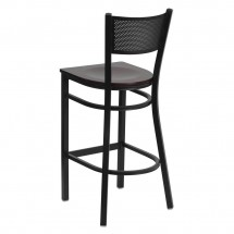 Flash Furniture XU-DG-60116-GRD-BAR-MAHW-GG HERCULES Series Black Grid Back Metal Restaurant Bar Stool - Mahogany Wood Seat addl-1