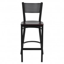 Flash Furniture XU-DG-60116-GRD-BAR-MAHW-GG HERCULES Series Black Grid Back Metal Restaurant Bar Stool - Mahogany Wood Seat addl-2