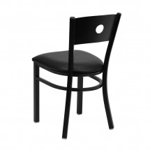 Flash Furniture XU-DG-60119-CIR-BLKV-GG HERCULES Series Black Circle Back Metal Restaurant Chair - Black Vinyl Seat addl-1