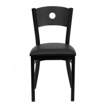 Flash Furniture XU-DG-60119-CIR-BLKV-GG HERCULES Series Black Circle Back Metal Restaurant Chair - Black Vinyl Seat addl-2