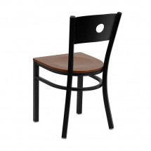 Flash Furniture XU-DG-60119-CIR-CHYW-GG HERCULES Series Black Circle Back Metal Restaurant Chair - Cherry Wood Seat addl-1