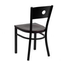 Flash Furniture XU-DG-60119-CIR-MAHW-GG HERCULES Series Black Circle Back Metal Restaurant Chair - Mahogany Wood Seat addl-1
