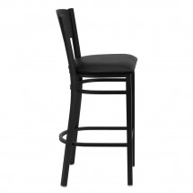 Flash Furniture XU-DG-60120-CIR-BAR-BLKV-GG HERCULES Series Black Circle Back Metal Restaurant Bar Stool - Black Vinyl Seat addl-4