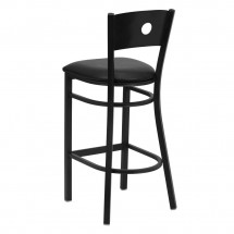 Flash Furniture XU-DG-60120-CIR-BAR-BLKV-GG HERCULES Series Black Circle Back Metal Restaurant Bar Stool - Black Vinyl Seat addl-1