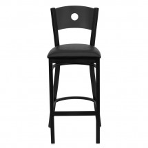 Flash Furniture XU-DG-60120-CIR-BAR-BLKV-GG HERCULES Series Black Circle Back Metal Restaurant Bar Stool - Black Vinyl Seat addl-2