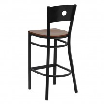 Flash Furniture XU-DG-60120-CIR-BAR-CHYW-GG HERCULES Series Black Circle Back Metal Restaurant Bar Stool - Cherry Wood Seat addl-1