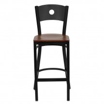 Flash Furniture XU-DG-60120-CIR-BAR-CHYW-GG HERCULES Series Black Circle Back Metal Restaurant Bar Stool - Cherry Wood Seat addl-2