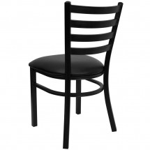 Flash Furniture XU-DG694BLAD-BLKV-GG HERCULES Series Black Ladder Back Metal Restaurant Chair - Black Vinyl Seat addl-1