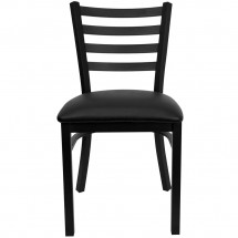 Flash Furniture XU-DG694BLAD-BLKV-GG HERCULES Series Black Ladder Back Metal Restaurant Chair - Black Vinyl Seat addl-2