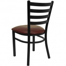 Flash Furniture XU-DG694BLAD-BURV-GG HERCULES Series Black Ladder Back Metal Restaurant Chair - Burgundy Vinyl Seat addl-1
