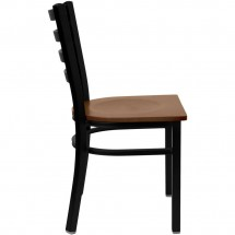Flash Furniture XU-DG694BLAD-CHYW-GG HERCULES Series Black Ladder Back Metal Restaurant Chair - Cherry Wood Seat addl-4