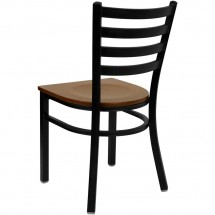 Flash Furniture XU-DG694BLAD-CHYW-GG HERCULES Series Black Ladder Back Metal Restaurant Chair - Cherry Wood Seat addl-1