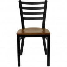 Flash Furniture XU-DG694BLAD-CHYW-GG HERCULES Series Black Ladder Back Metal Restaurant Chair - Cherry Wood Seat addl-2