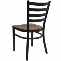 Flash Furniture XU-DG694BLAD-MAHW-GG HERCULES Series Black Ladder Back Metal Restaurant Chair - Mahogany Wood Seat addl-1