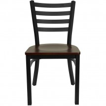 Flash Furniture XU-DG694BLAD-MAHW-GG HERCULES Series Black Ladder Back Metal Restaurant Chair - Mahogany Wood Seat addl-2