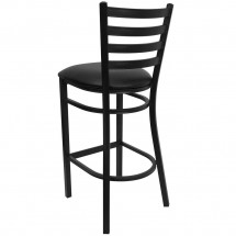 Flash Furniture XU-DG697BLAD-BAR-BLKV-GG HERCULES Series Black Ladder Back Metal Restaurant Bar Stool - Black Vinyl Seat addl-1
