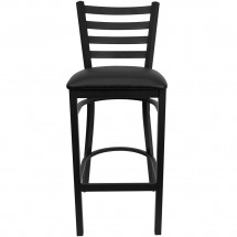 Flash Furniture XU-DG697BLAD-BAR-BLKV-GG HERCULES Series Black Ladder Back Metal Restaurant Bar Stool - Black Vinyl Seat addl-2