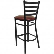 Flash Furniture XU-DG697BLAD-BAR-BURV-GG HERCULES Series Black Ladder Back Metal Restaurant Bar Stool - Burgundy Vinyl Seat addl-1