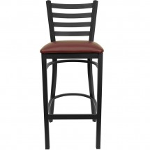 Flash Furniture XU-DG697BLAD-BAR-BURV-GG HERCULES Series Black Ladder Back Metal Restaurant Bar Stool - Burgundy Vinyl Seat addl-2