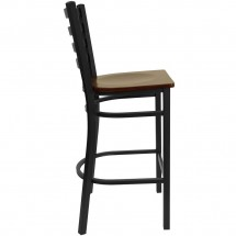 Flash Furniture XU-DG697BLAD-BAR-MAHW-GG HERCULES Series Black Ladder Back Metal Restaurant Bar Stool - Mahogany Wood Seat addl-4