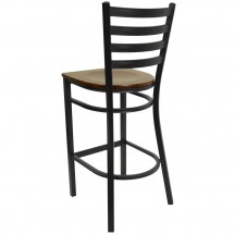 Flash Furniture XU-DG697BLAD-BAR-MAHW-GG HERCULES Series Black Ladder Back Metal Restaurant Bar Stool - Mahogany Wood Seat addl-1