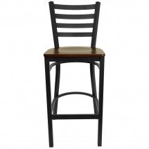 Flash Furniture XU-DG697BLAD-BAR-MAHW-GG HERCULES Series Black Ladder Back Metal Restaurant Bar Stool - Mahogany Wood Seat addl-2