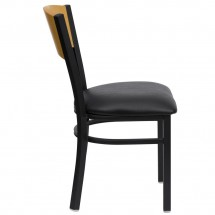 Flash Furniture XU-DG-6F2B-CIR-BLKV-GG HERCULES Series Black Circle Back Metal Restaurant Chair - Natural Wood Back, Black Vinyl Seat addl-3