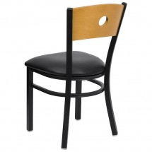 Flash Furniture XU-DG-6F2B-CIR-BLKV-GG HERCULES Series Black Circle Back Metal Restaurant Chair - Natural Wood Back, Black Vinyl Seat addl-1