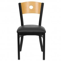 Flash Furniture XU-DG-6F2B-CIR-BLKV-GG HERCULES Series Black Circle Back Metal Restaurant Chair - Natural Wood Back, Black Vinyl Seat addl-4