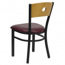 Flash Furniture XU-DG-6F2B-CIR-BURV-GG HERCULES Series Black Circle Back Metal Restaurant Chair - Natural Wood Back, Burgundy Vinyl Seat addl-1