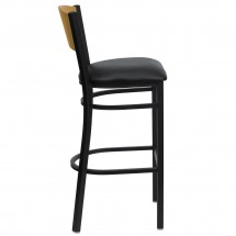Flash Furniture XU-DG-6F6B-CIR-BAR-BLKV-GG HERCULES Series Black Circle Back Metal Restaurant Bar Stool - Natural Wood Back, Black Vinyl Seat addl-4