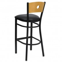 Flash Furniture XU-DG-6F6B-CIR-BAR-BLKV-GG HERCULES Series Black Circle Back Metal Restaurant Bar Stool - Natural Wood Back, Black Vinyl Seat addl-1