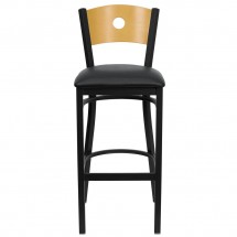 Flash Furniture XU-DG-6F6B-CIR-BAR-BLKV-GG HERCULES Series Black Circle Back Metal Restaurant Bar Stool - Natural Wood Back, Black Vinyl Seat addl-2