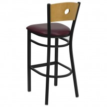 Flash Furniture XU-DG-6F6B-CIR-BAR-BURV-GG HERCULES Series Black Circle Back Metal Restaurant Bar Stool - Natural Wood Back, Burgundy Vinyl Seat addl-1