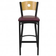 Flash Furniture XU-DG-6F6B-CIR-BAR-BURV-GG HERCULES Series Black Circle Back Metal Restaurant Bar Stool - Natural Wood Back, Burgundy Vinyl Seat addl-2