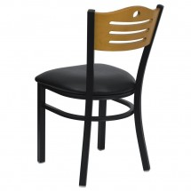Flash Furniture XU-DG-6G7B-SLAT-BLKV-GG HERCULES Series Black Slat Back Metal Restaurant Chair - Natural Wood Back, Black Vinyl Seat addl-1
