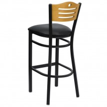 Flash Furniture XU-DG-6H3B-SLAT-BAR-BLKV-GG HERCULES Series Black Slat Back Metal Restaurant Bar Stool - Natural Wood Back, Black Vinyl Seat addl-1
